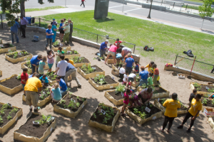 Volunteers and children from the Midway Y day-care program helped set up a large garden at the Y in 2013.