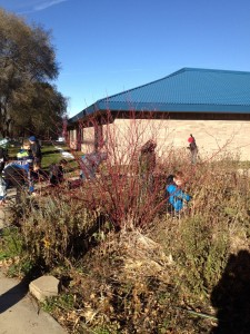 Students at work in the Kimball school garden.