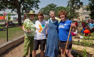 MSHS volunteers working at a community garden that MSHS supports.