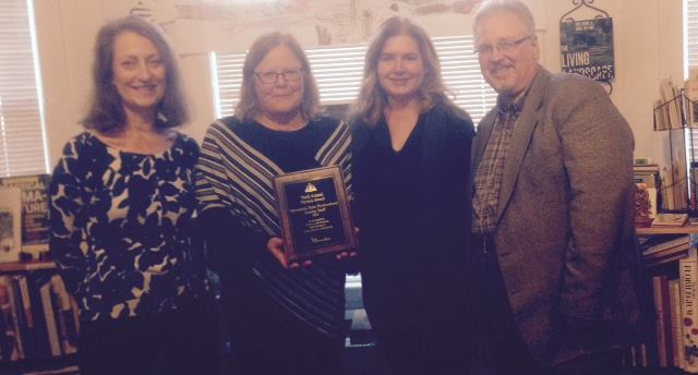 From left, Vicky Vogels, Rose Eggert and Diane Duvall (all of MSHS) with Kent Petterson at the awards presentation. (Terrace Horticultural Books photo)
