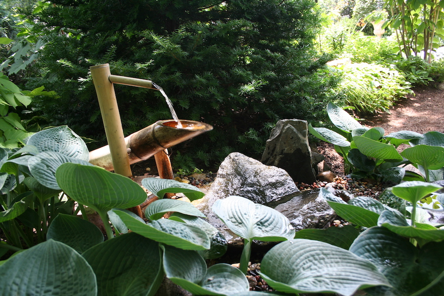 water feature with bamboo tube