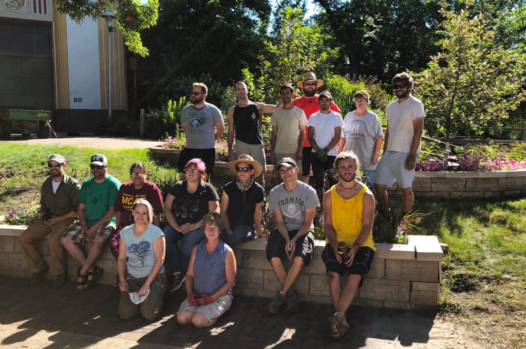Hennepin Tech volunteers in garden