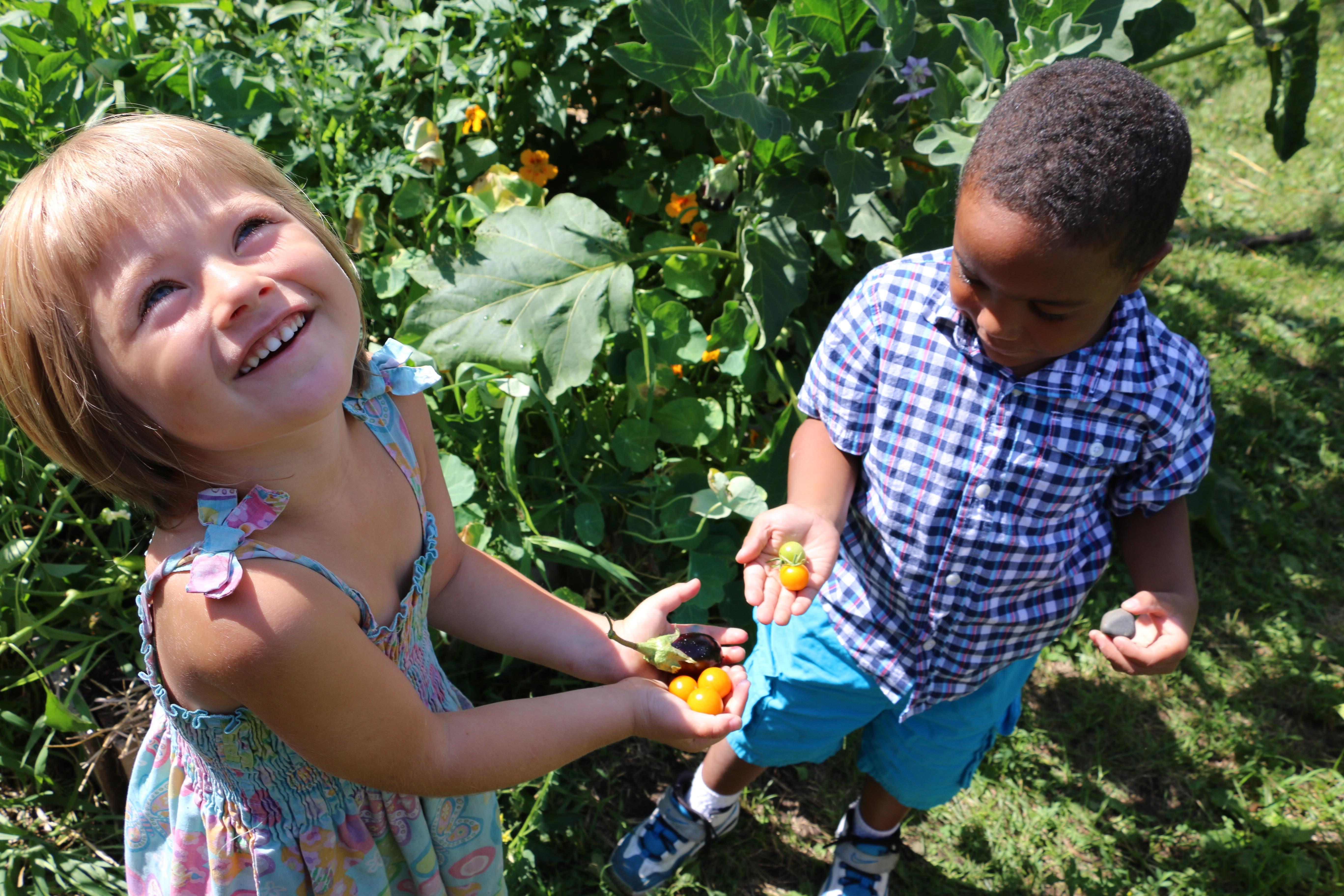 children in community garden