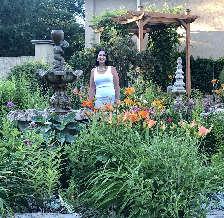 Sharon Kvamme in garden
