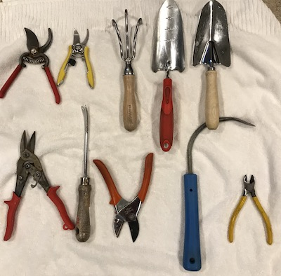 cleaned garden tools