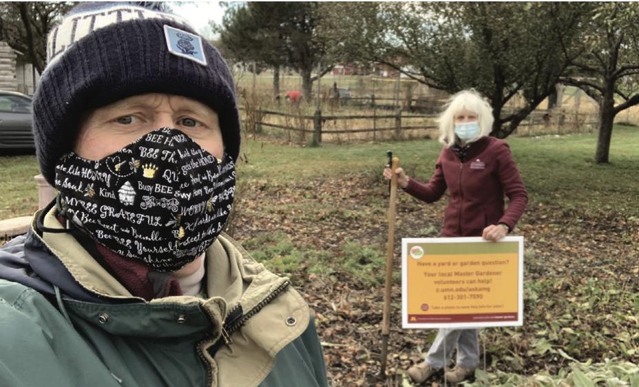 masked gardeners at work