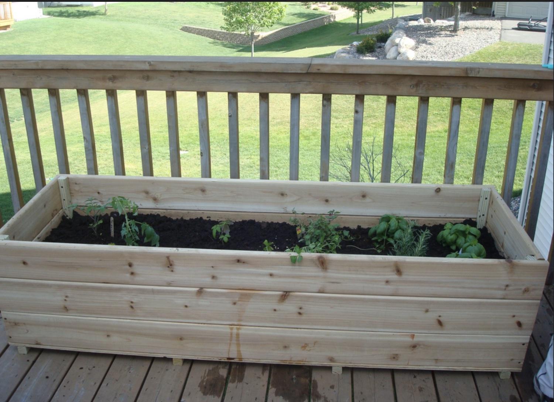 raised garden box on deck