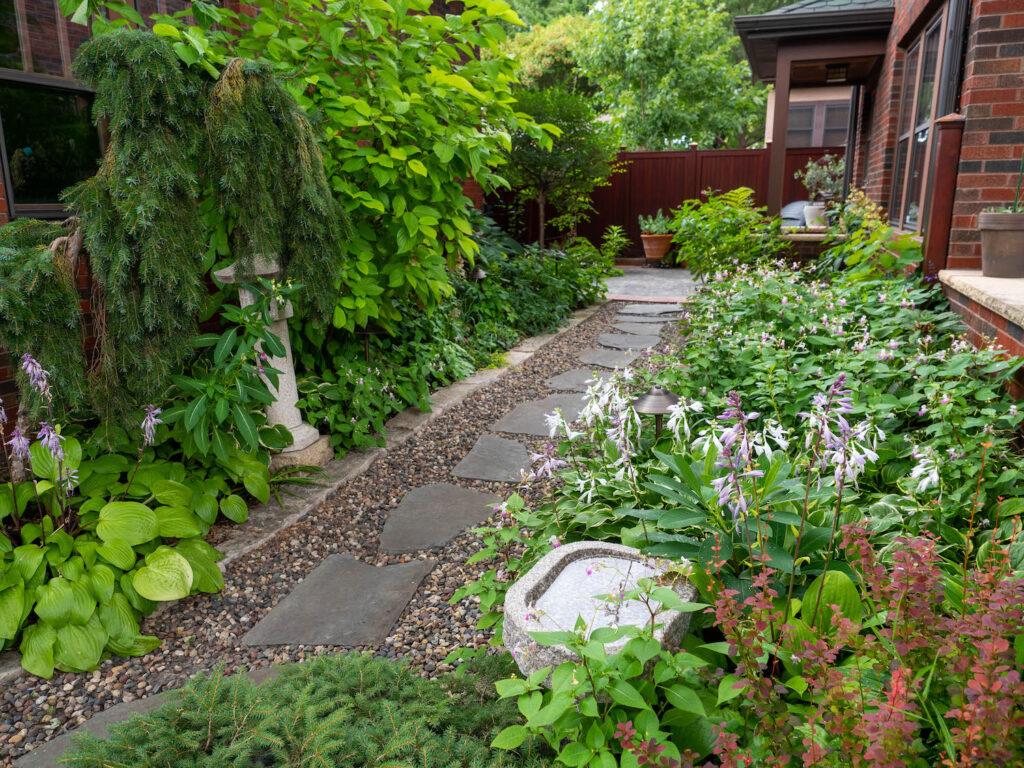 stone path through urban garden