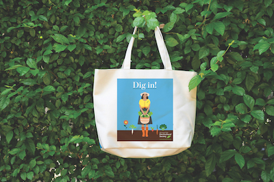 green wall with tote bag with gardener on it.